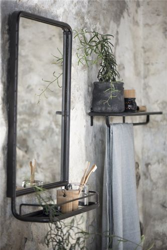 Wall Mirror met plateau Mini Shelf Zwart