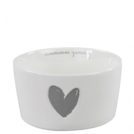 Bowl 13,5cm White little heart relief in Grey12,95