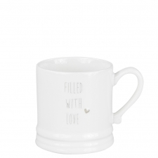 Mug Small White/Filled with Love in Grey