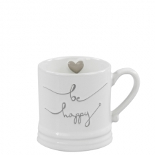 Mug Small White/be happy in Grey