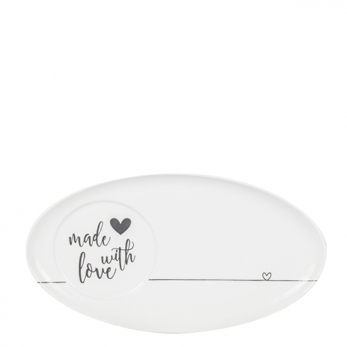 Oval Plate White made with love in black