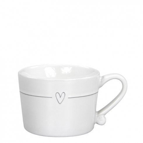 Mug Small White/Line heart in Grey